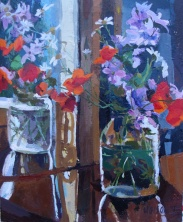 Oil Painting of Bugainvillea and Poppies in Pickle Jar. This is on a table reflected in the mirror
