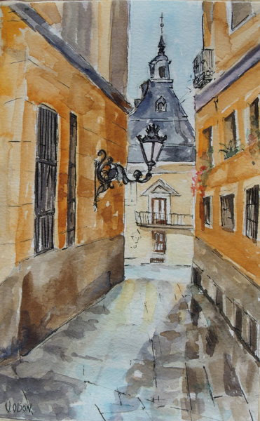 A watercolor of a short narrow street after a rain.