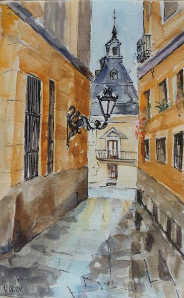 A watercolor of a short narrow street after a rain.