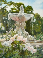 Fuente del Fauno. A stone fountain in the Retiro Park Rose Garden. The sky has a few light clouds. It is a beautiful realistic tempera and oil painting of a spanish fountain with white roses.