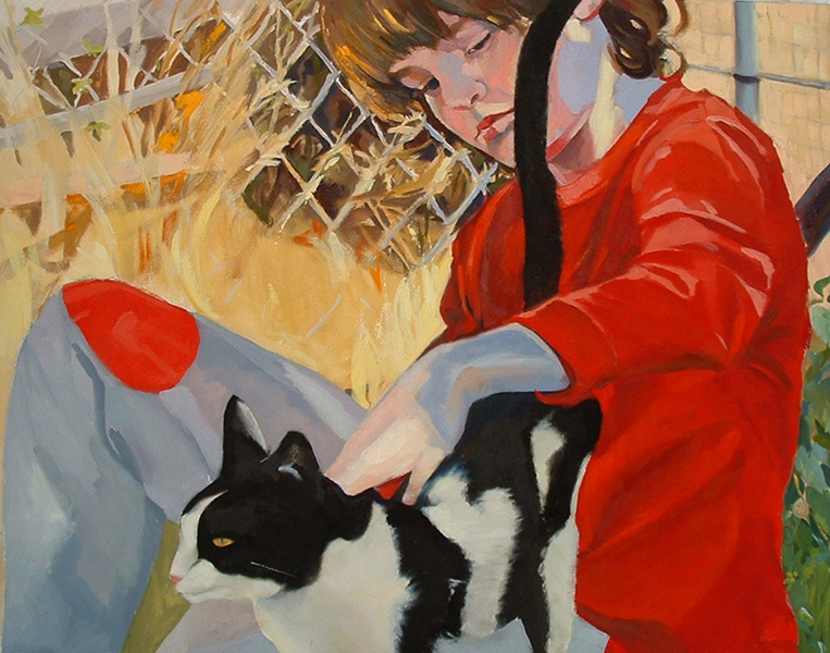 Painting of Child with Cat. Child has a red shirt and is petting a black and white cat.