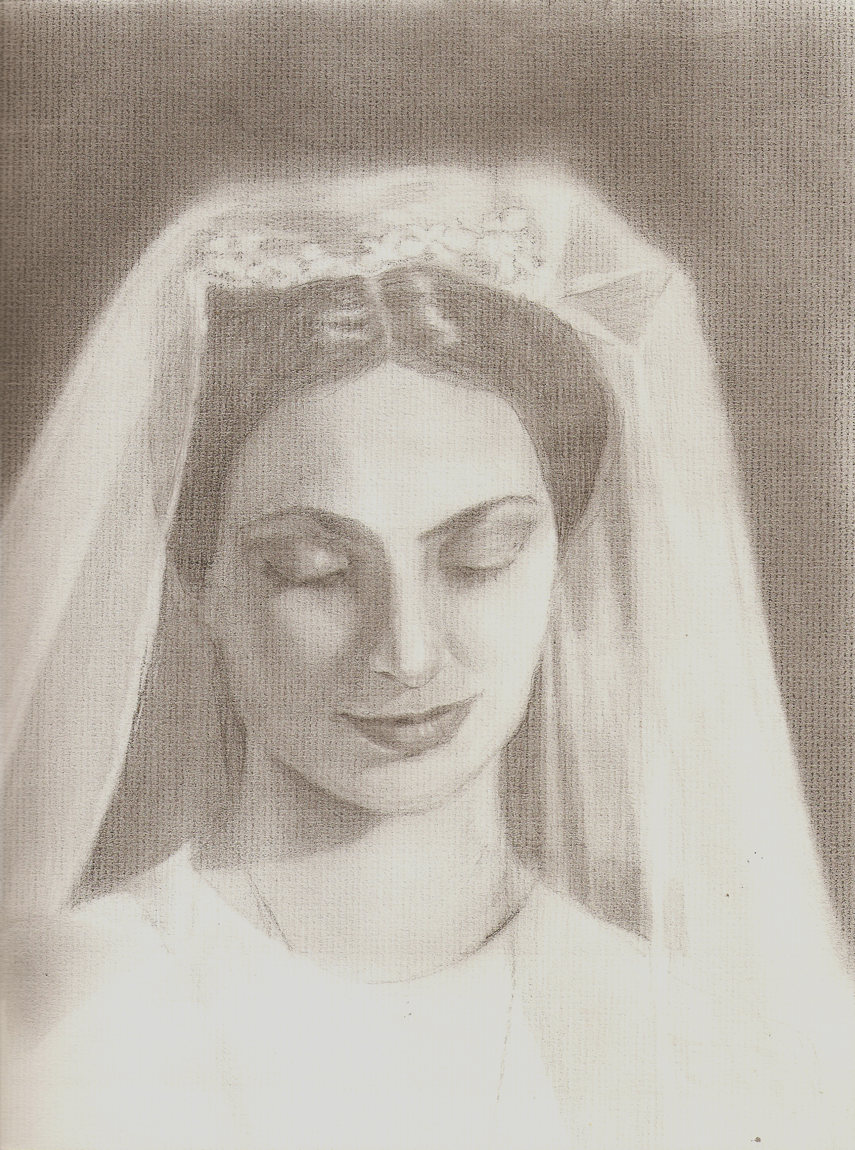 A pecil drawing of a bride