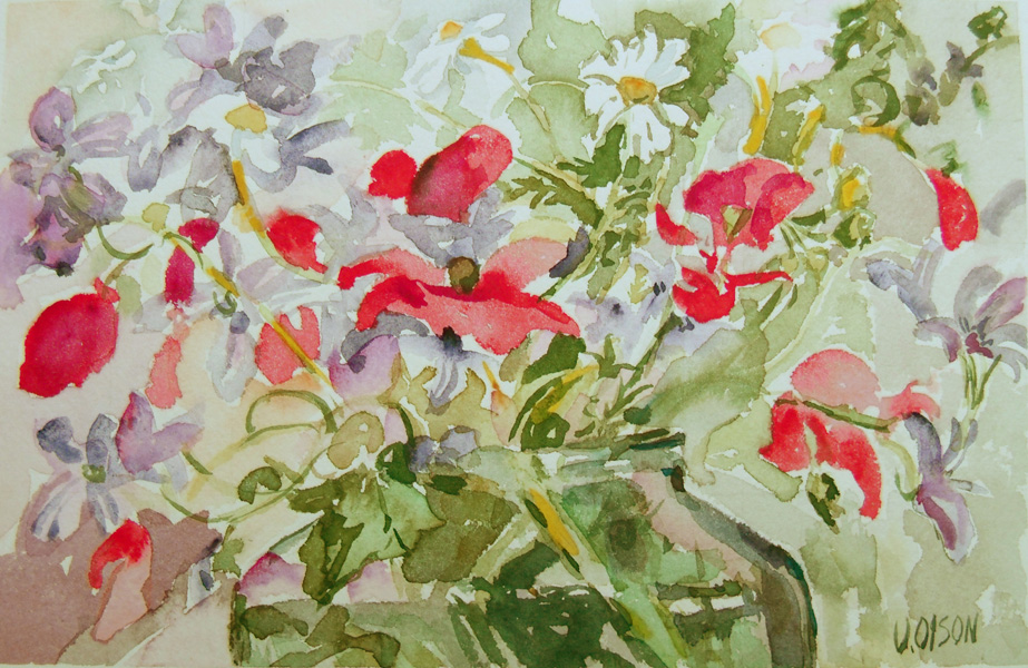 A watercolor of red poppies, daisies and wildflowers which are purple or violet.