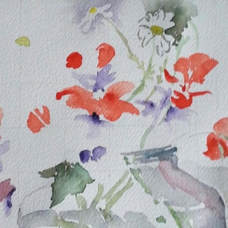 A watercolor of red poppies, daisies and a glass jar in the process of making.