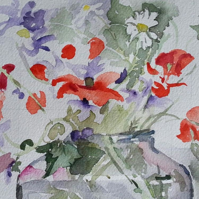 A picture of a watercolor almost finished. You can see red poppies, white daisies with a touch of purple or violet flowers in a glass pickle jar.