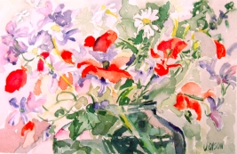 A watercolor of poppies and daisies with little purple or violet flowers in a pickle jar.