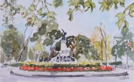 Watercolor of the Fallen Angel Fountain. There are red flowers around the fountain