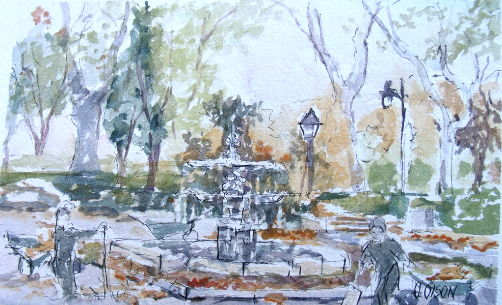 A pen and ink with watercolor wash of a double dish fountain in a loose style.
