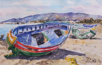 A fishing boat. Red, blue and green colors on the sandy shore in front of a far away purple mountain. A beautiful watercolor