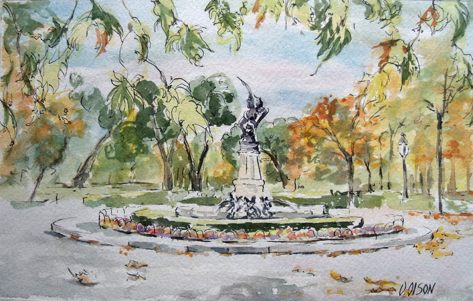 Watercolor of the Fallen Angel Fountain in the Retiro Park in Madrid Spain. The sky is blue with a few clouds and the leaves are turning a golden orcher color