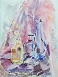 Three Transparent Bottles 2019 Watercolor on Arches 300 gms 14×19 cm / 5.5×7.5 in €25