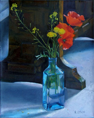 Blue Bottle with Poppies 2006