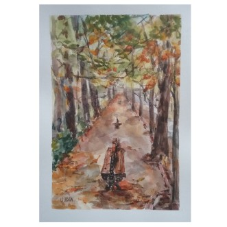 Autumn Leaves in the Retiro Park 2020 Watercolor on 280 gms 17.5×25.5 cm / 7×10 in €25