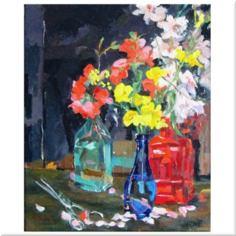 Blue Bottles with a Red Bottle 2020 Oil on Canvas 33×41 cm 16×13″ €125