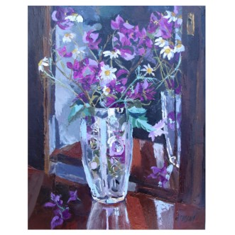 "Bougainvillea and Daisies in Crystal Vase 2019 Oil on Canvas 41.x51.cm 16x20"" €150"