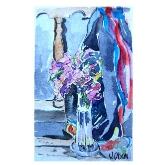 Bougainvillea in Crystal Vase 2019 Watercolor on Arches 300 gms 9.5×14.5 cm 3.75×5.75 in €20