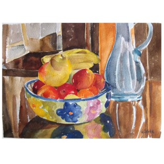 Fruit in Ceramic Bowl 2014 Watercolor on Arches 300 GSM 23x35cm 9×14 in €30