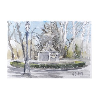 Fuente de los Galapagos Madrid Spain 2015 Watercolor on Arches 300 gsm – 14 x19 cm 7.5 x5.5 inches Matted 8×10 in €70