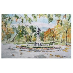 Fuente El Angel Caido in November Madrid, Spain 2019 Watercolor on Arches 300 gsm – 19×28 cm 7.5 x 11.25 in €35