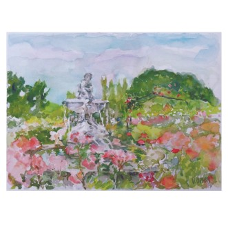 Fuente del Faunito Rose Garden 2015 Watercolor on Arches 300 GMS – Matted 16 x 20 inch (40.6 x 50.8 cm) €110