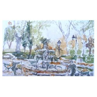 Fuente en la Plaza del Mármol October Madrid, Spain 2019 Watercolor on Arches 300 gsm – 19×28 cm 7.5 x 11.25 in €35