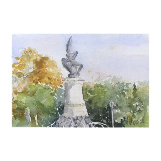 Fuente El Angel Caido Madrid, Spain 2014 Watercolor on Arches 300 gsm – 14 x19 cm 7.5 x5. 5 in Matted 8×10 inch €70