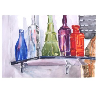 Glass Bottles on Shelf 2014 Watercolor on Arches 300 gsm 38×56 cm 15×22″ – Shipped Rolled in Tube €140 Shipping not Included