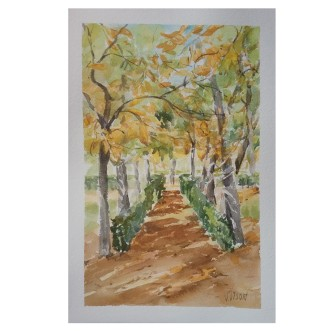 In the Retiro Park on Sunday Morning 2020 Watercolor on Arches 300 gms 17.5×25.5 cm / 7×10 in €30