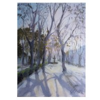 Long Shadows on the Paseo del Prado 2020 oil on Museum Board 13×18 cm / 5 x7 in €30