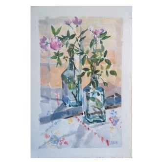 Miniature Pink Roses in Bombay Sapphire shinning Blue Bottle 2020 Watercolor on Guarro 300 gsm 17.5×25.5 cm / 7×10 in €25