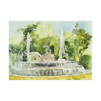 Neptune Fountain Madrid, Spain August 2016 28×38 cm 11×15 in Watercolor on Arches 300 gms Matted in 16×20 inch ivory colored museum board – €110 Euros