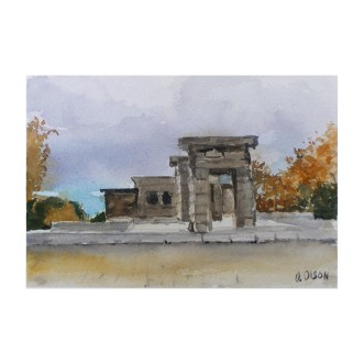 Templo de Debod Madrid Spain 2014 Watercolor on Arches 300 gsm – 14 x19 cm 7.5 x5. 5 in Matted 8×10 inch mat. €70 Euros