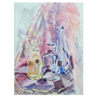 Three Transparent Bottles 2019 Watercolor on Arches 300 gms 14x19 cm / 5.5x7.5 in €25