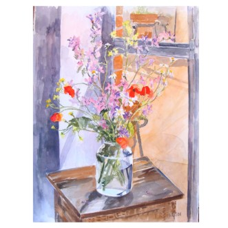 Wild Flowers in Pickle Jar May 7th 2015 Watercolor on Arches 76×56 cm 22×30 in €300