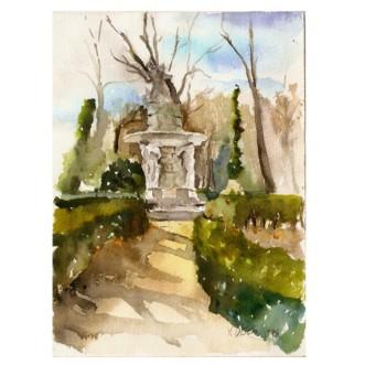 Parque del Principe Aranjuez 1998 Watercolor on Arches 3s25.4×20.3 cm 10×8 inch Matted €65 Euros