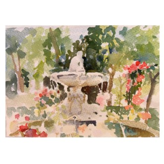 Fuente del Faunito El Buen Retiro 2005 Watercolor on Arches 300 GSM – Painted Area 16.5 cm x 24 cm Matted 11×14 in €65