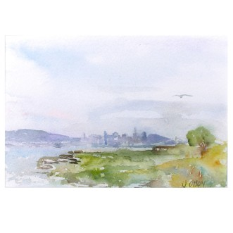 Alameda Bay View of San Francisco, California 2010 Watercolor on Arches 300 gsm – Matted in 8x10 inch Museum Board - (20.3x25.4cm) €85 Euros