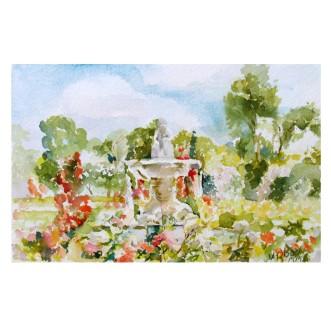 Fuente del Faunito El Buen Retiro Rose Garden 2010 Painted area 17cmx26 cm Matted 11×14 in €65