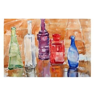 Glass Bottles in the Rain 2014 Watercolor on Arches 300 GSM 15×22″ 38×56 cm Shipped Rolled in Tube €140 shipping not included