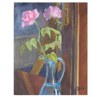 "Pink Rose in front of Mirror 2014 Egg Tempera on Canvas 41x33 cm 16 x13 "" €110"