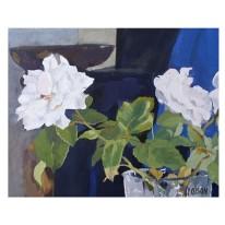 "White Roses in Crystal Vase 2014 - Egg Tempera on Canvas - 13 in x 16 "" 33 x 41 cm €110"
