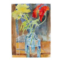Flowers in Blue Bottle 2015 Watercolor on Arches 300 GSM 15 x11 in 38 x 28 cm – Location: San Diego €100