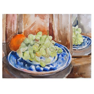 Grapes and Tangerines on Talavera Plate 2015 Watercolor on Arches 640 GSM 28×38 cm 11×15 in €35