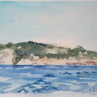 La Jolla Cove San Diego, California 2015 Watercolor on Arches 300 gsm Matted in 8×10 inch ivory colored museum board €85 Euros