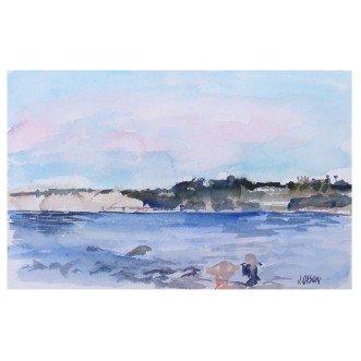 La Jolla Shores, San Diego California 2015 Watercolor on Arches 300 GSM Painted Area 15.5x 24.5 cm Matted 11x14 in ivory color museum board. €65 Euros