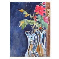 Red Roses in Blue Vase March 2015 Watercolor on Arches 640 GSM 38×28 cm 15×11 in €60