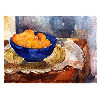 Tangerines in Blue Bowl 2015 Watercolor on Arches 300 GSM – Painted Area 4.7x 6.4 in – 16.5x12cm Matted in 8×10 inch ivory colored museum board – €35