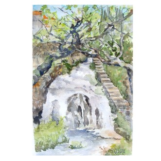 "Trillo Waterfall Spain April 25th 2015 Watercolor on Arches 300 GSM – 11 x5.5 "" (28 cm x 14 cm) €35"