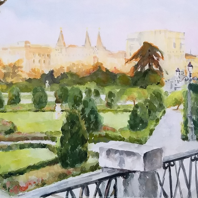 Plaza del Parterre 2020 Watercolor on Arches 300 gms 38×56 cm / 15×22 in $145