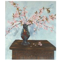 """Blossoms in Pinch Pot 2005 Oil on Canvas 55x46 cm 21.6x18 """" €125"""